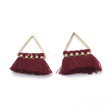 Cotton Tassel Pendant Decorations, with Brass Findings, Golden, Dark Red, 27~31x21~25x2~3mm, Hole: 12x13mm(X-FIND-T012-01D)
