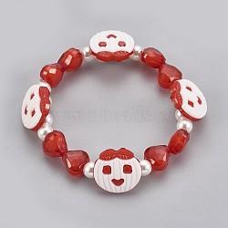 """Bracelets extensibles en perles acryliques pour enfants, avec boutons en acrylique, pomme & coeur & rond, rouge, 1-7/8"""" (4.8 cm)(BJEW-JB03888-04)"""