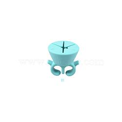 Support de vernis à ongles en silicone, bague multifonctions nail art, paleturquoise, 5.5x5.2 cm(MRMJ-R052-50A)