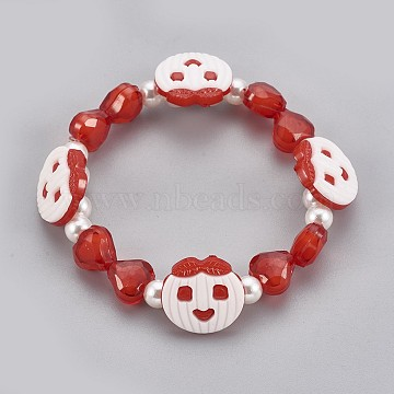 Acrylic Beads Kids Stretch Bracelets, with Acrylic Shank Buttons,  Apple & Heart & Round, Red, 1-7/8 inches(4.8cm)(BJEW-JB03888-04)