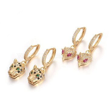 Brass Leverback Earrings, with Cubic Zirconia, Mixed Shapes, Golden, Mixed Color, 30mm; Pin: 1mm(EJEW-E234-04-G)