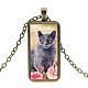 Cat Theme Glass Pendant Necklaces(NJEW-L040-B01)-1