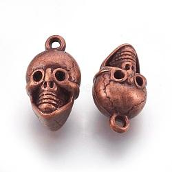 Пластмассовые подвески ccb, череп, Красная медь, 23.5x13.5x10.5 мм, отверстие : 2.5 мм(CCB-K004-07R)