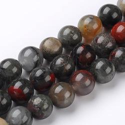 """Bloodstone african naturel brins de perles rondes, 6mm, trou: 1mm; environ 60~62 pcs/chapelet, 15.74""""(G-L383-06-6mm)"""
