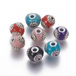 Perles d'Indonésie main, avec noyau en laiton et alliage, rondelle, argent antique et argent, couleur mélangée, 15x12~13 mm, trou: 3.5 mm(IPDL-F028-14)