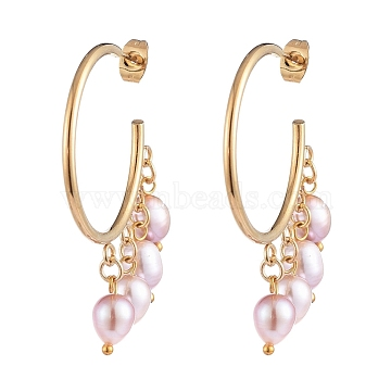 Dangle Chandelier Earrings, with Natural Cultured Freshwater Pearl Beads, 304 Stainless Steel Stud Earring Findings and Brass Findings, Golden, Pink, 47x37x6mm, Pin: 0.6mm(X-EJEW-JE04105-02)