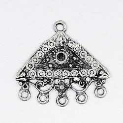 Composante de lustre, Liens en alliage, couleur argent antique, triangle,  largeur de 27 mm, Longueur 24.5mm, épaisseur de 2mm, Trou: 2mm(X-EA415Y)