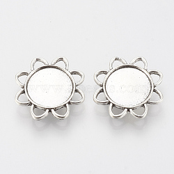 Tibetan Style Alloy Slide Charms Cabochon Settings, Lead Free, Flower, Antique Silver, Tray: 16mm; 26.5x6mm, Hole: 2x10mm(X-TIBE-Q086-079AS-LF)