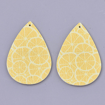 PU Leather Big Pendants, Double-Sided Fruit Pattern, teardrop, with Lemon Pattern, Gold, 56x37x2mm, Hole: 1.6mm(X-FIND-R072-10-A08)