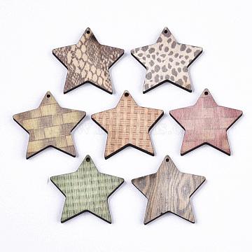 Printed Wood Pendants, Laser Cut Wood Shape, Star, Mixed Color, 38.5x41x4.5mm, Hole: 1.8mm(X-WOOD-S667-015B)