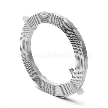 Textured Aluminum Wire, Flat Craft Wire, Bezel Strip Wire for Cabochons Jewelry Making, Silver, 18 Gauge, 5x1mm, about 6.56 Feet(2m)/roll(X-AW-R008-2m-01)