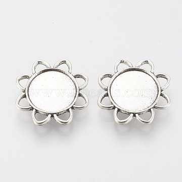 Tibetan Style Alloy Slide Charms Cabochon Settings, Cadmium Free & Lead Free, Flower, Antique Silver, Tray: 16mm, 26.5x6mm, Hole: 2x10mm(X-TIBE-Q086-079AS-LF)
