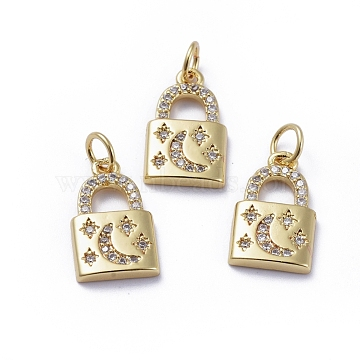 Brass Micro Pave Cubic Zirconia Pendants, with Jump Rings, Long-Lasting Plated, Lock with Moon & Star, Clear, Golden, 16x9.5x2mm, Hole: 3.4mm(X-ZIRC-G163-25G)