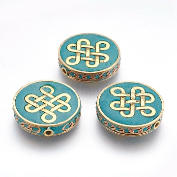 Handmade Indonesia Beads, with Metal Findings, Flat Round with Chinese Knot, Raw(Unplated), Dark Cyan, 28x7.5mm, Hole: 2mm(IPDL-E010-02B)