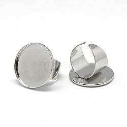 Fer supports de bague de pad, Sans cadmium & sans nickel & sans plomb, platine, plateau: 20 mm; 18 mm(X-MAK-Q011-41P-20mm-NR)