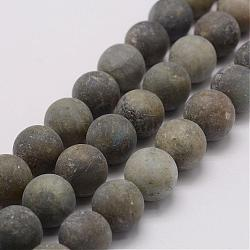 Natural Labradorite Beads Strands, Frosted, Round, 16mm, Hole: 1mm; about 25pcs/strand, 14.9inches(38cm)
