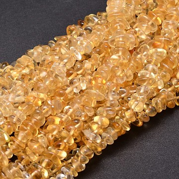 Natural Citrine Chip Beads Strands, 5~14x4~10mm, Hole: 1mm; about 15.5inches~16.1inches(X-G-E271-100)