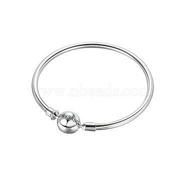 TINYSAND 925 Sterling Silver Basic Bangles for European Style Jewelry Making, Platinum, 170mm(TS-B132-S-17)