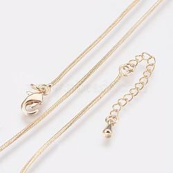 """Colliers de chaîne serpent en laiton plaqué longue durée, avec fermoir, sans nickel, véritable 18k plaqué or, 18.1"""" (46 cm), 1mm(X-NJEW-K112-04G-NF)"""