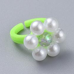 акриловые кольца для манжет, с акриловыми бусинами из искусственного жемчуга и прозрачными акриловыми бусинами из полистирола, цветок, springgreen, Размер 3, 14 mm(RJEW-JR00258-03)