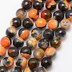 Natural Fire Agate Bead Strands, Round, Grade A, Faceted, Dyed & Heated, Goldenrod, 10mm, Hole: 1mm; about 37pcs/strand, 15inches