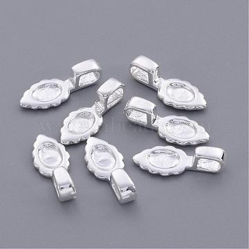 Brass Glue-on Flat Pad Bails, Leaf, Silver Color Plated, about 6.5mm wide, 16mm long, 1.5mm thick, hole: 3x2mm(X-EC055-2S)