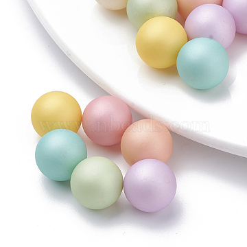 Eco-Friendly Plastic Imitation Pearl Beads, High Luster, Grade A, No Hole Beads, Matte, Round, Mixed Color, 5mm(X-MACR-S277-5mm-B)