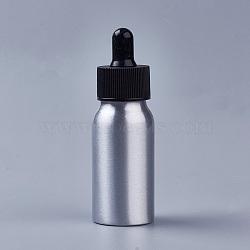 30ml Aluminium Empty Glass Dropper Bottles, with PP Plastic Caps, for Essential Oils Aromatherapy Lab Chemicals, Black, 9.9x3.2cm, Capacity: 30ml(1.01 fl. oz)(X-MRMJ-WH0033-01A)