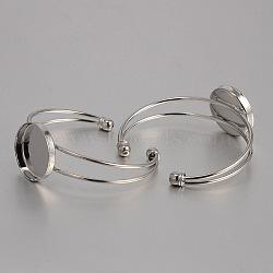 латунь манжеты браслет решений, пустое основание браслета, с плоской круглой лоток, платина, 60 mm, лоток: 25 mm(KK-J184-50P)