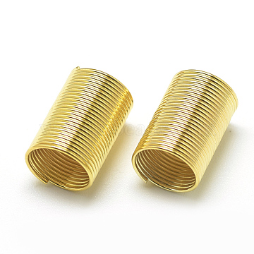 Plated Iron Spring Beads, Coil Beads, Column, Golden, 15x10mm, Hole: 8mm(IFIN-S696-93G)