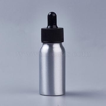 30ml Aluminium Empty Glass Dropper Bottles, with PP Plastic Caps, for Essential Oils Aromatherapy Lab Chemicals, Black, 9.9x3.2cm; Capacity: 30ml(1.01 fl. oz)(X-MRMJ-WH0033-01A)