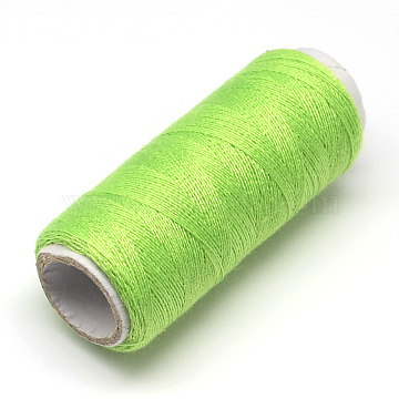 402 Polyester Sewing Thread Cords for Cloth or DIY Craft, LawnGreen, 0.1mm; about 120m/roll, 10rolls/bag(OCOR-R027-10)