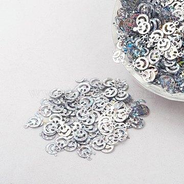 Ornament Accessories Plastic Paillette/Sequins Beads, Smiling Face, Silver, 8x6x0.1mm, Hole: 0.8mm(X-PVC-E001-13-LS02)