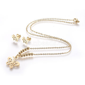 304 Stainless Steel Jewelry Sets,  Stud Earrings and Pendant Necklaces, Butterfly, Golden, 17.51 inches~17.71 inches(44.5~45cm); 8x11mm, Pin: 0.8mm.(X-STAS-I113-68G)