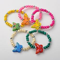 Bracelets de bois extensibles pour enfants, Les cadeaux de jour pour enfants, avec la couleur aléatoire des perles papillon, couleur mixte, 45mm(BJEW-JB01263)