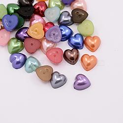 Imitation acrylique cabochons de perles, teint, cœur, couleur mixte, 10.5x10.5x5 mm; environ 1500 PCs / sac(MACR-F022-M)