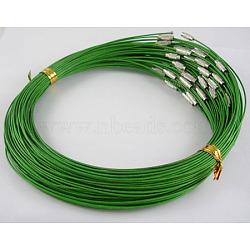 """Fil d'acier pour collier, avec fermoir à vis en laiton, sans nickel, platine, vert foncé, taille: 17.5"""" de long , fil: environ 1 mm de diamètre(X-SW001-2)"""