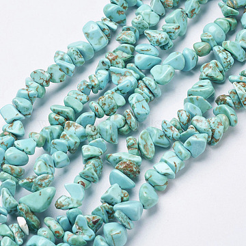 Synthetic Turquoise Beads Strands, Dyed, Chips, Turquoise, 3~8x3~8mm, Hole: 1mm, 34 inches(X-G-D283-3x5-10)