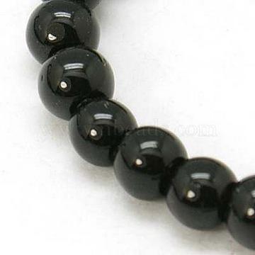 Круглые черные непрозрачные стеклянные бусины, 4 мм, Отверстие : 4 мм; около 0.5 шт / нитка, 84(X-GR4mm27Y)