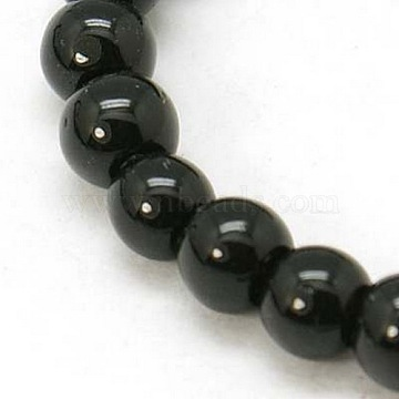 4mm Black Round Glass Beads