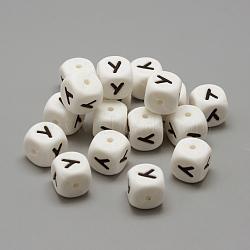perles de silicone environnementales de qualité alimentaire, perles à mâcher pour les jouets de dentition, Diy soins infirmiers colliers faisant, style de lettre, cube, letter.y, 12x12x12 mm, trou: 2 mm(X-SIL-R001-Y)