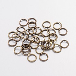 Iron Jump Rings, Close but Unsoldered, Nickel Free, Antique Bronze Color, 21 Gauge, 6x0.7mm; Inner Diameter: 4.6mm, about 191pcs/10g(X-JRAB6mm-NF)