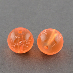 "Chapelets de perles en verre transparent drawbench, peint à la bombe, rond, orange rouge , 6 mm; trou: 1.3~1.6 mm; environ 133 pcs / brin, 31.4""(X-GLAD-Q012-6mm-08)"