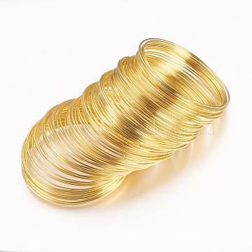 Steel Bracelet Memory Wire,Golden Color,2-1/8 inches(5.5cm), Wire: 1mm(18 Gauge), about 912 circles/1000g(MW5.5CM-1-NFG)