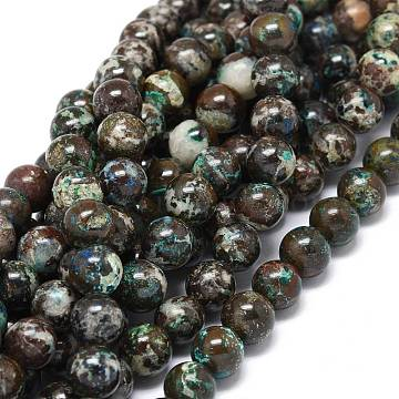 Natural Chrysocolla Beads Strands, Round, 8~9mm, Hole: 1mm, about 46~49pcs/strand, 15.55 inches(39.5cm)(G-O201A-18A)