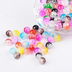 Perles acryliques craquelées transparentes à deux tons, moitié peint à la bombe, rond, couleur mixte, 8mm, trou: 2 mm; environ 1892 pcs / 500 g(CACR-R009-8mm-M)