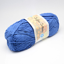 Soft Hand Knitting Yarns, with Cotton, PAN Fiber and Coff Extract, Royal Blue, 2.5mm; about 100g/roll, 5rolls/bag(YCOR-R011-18)