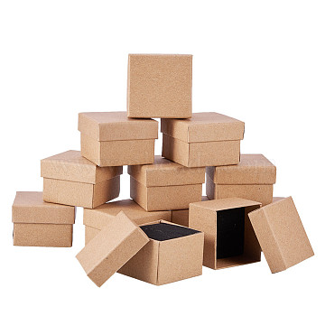 Cardboard Jewelry Boxes, with Sponge, for Ring, Square, Tan, 5x5x3.2cm(X-CBOX-R036-09)