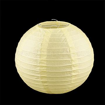Paper Ball Lantern, with Iron Findings, Round, LightKhaki, 20cm(X-AJEW-S070-01B-15)
