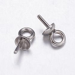 304 tasse en acier inoxydable poire perle bails broches pendentifs, pour la moitié de perles percées, couleur acier inoxydable, 7x4mm, trou: 1.5 mm; broches: 0.7 mm(STAS-K146-001-4mm)